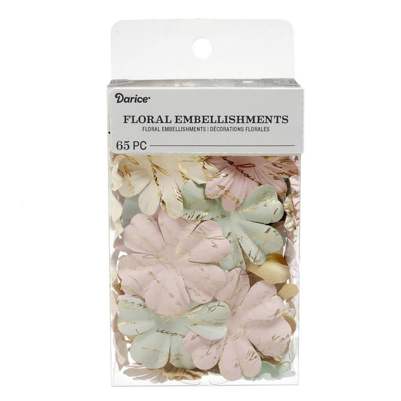 Floral Embellishments Collection Pastel Printed Petals 1.25 to 1.75 inch Blooms Scrapbook Embellishment by Darice - 65 Pieces