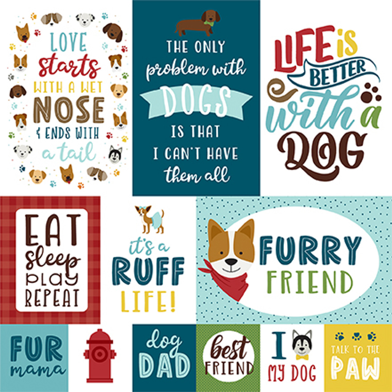 My Dog Collection 4X6 Journaling Cards 12 x 12 Double-Sided Scrapbook Paper by Echo Park Paper