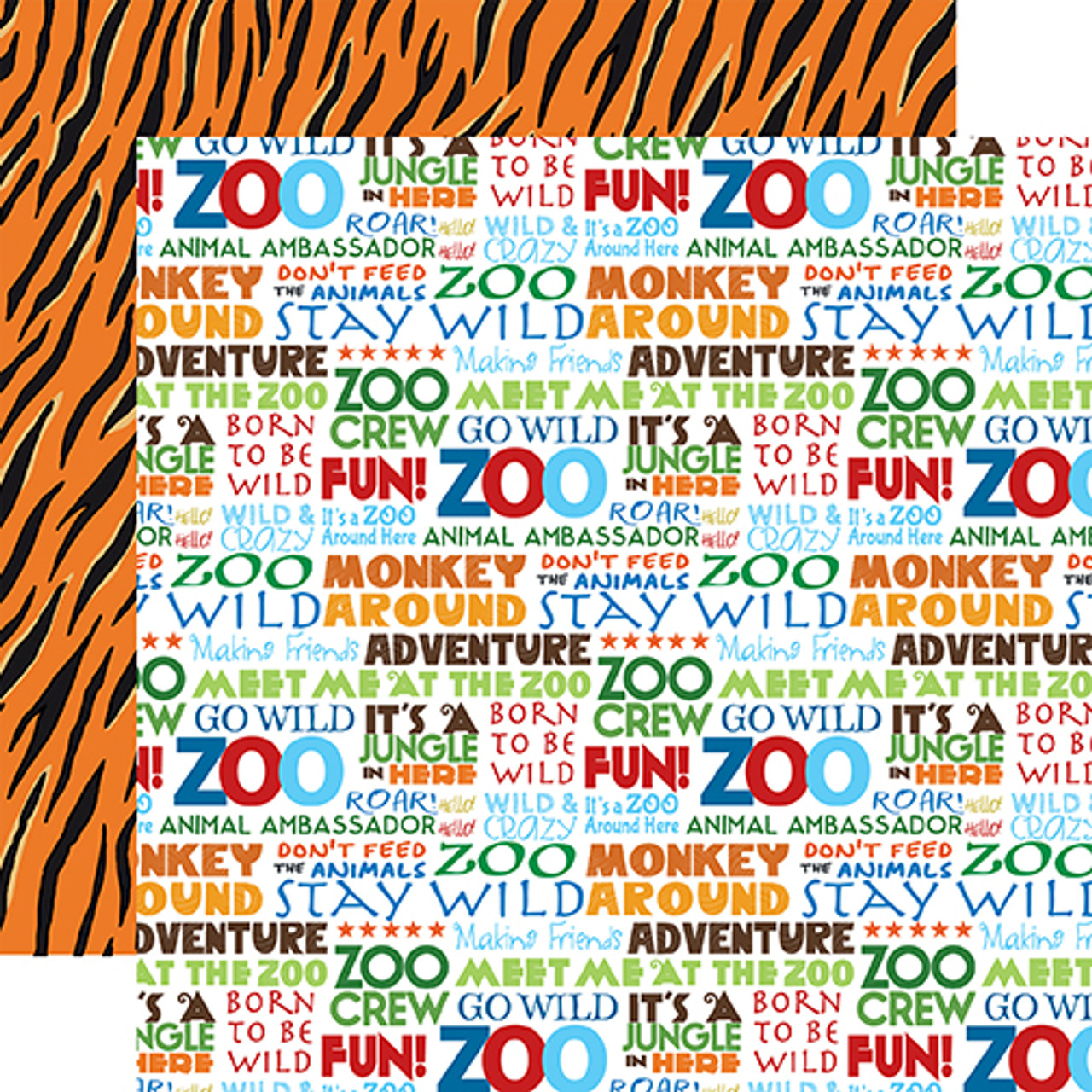 Zoo Adventure Collection Stay Wild 12 x 12 Double-Sided Scrapbook Paper by Carta Bella