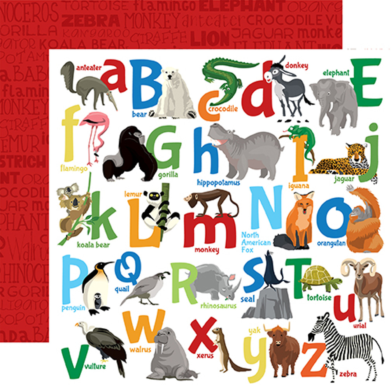 Zoo Adventure Collection Animal Alphabet 12 x 12 Double-Sided Scrapbook Paper by Carta Bella