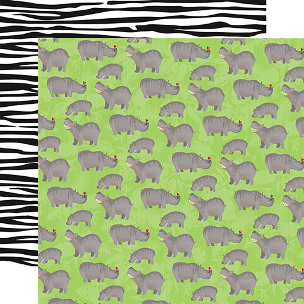 Zoo Adventure Collection Hippos 12 x 12 Double-Sided Scrapbook Paper by Carta Bella