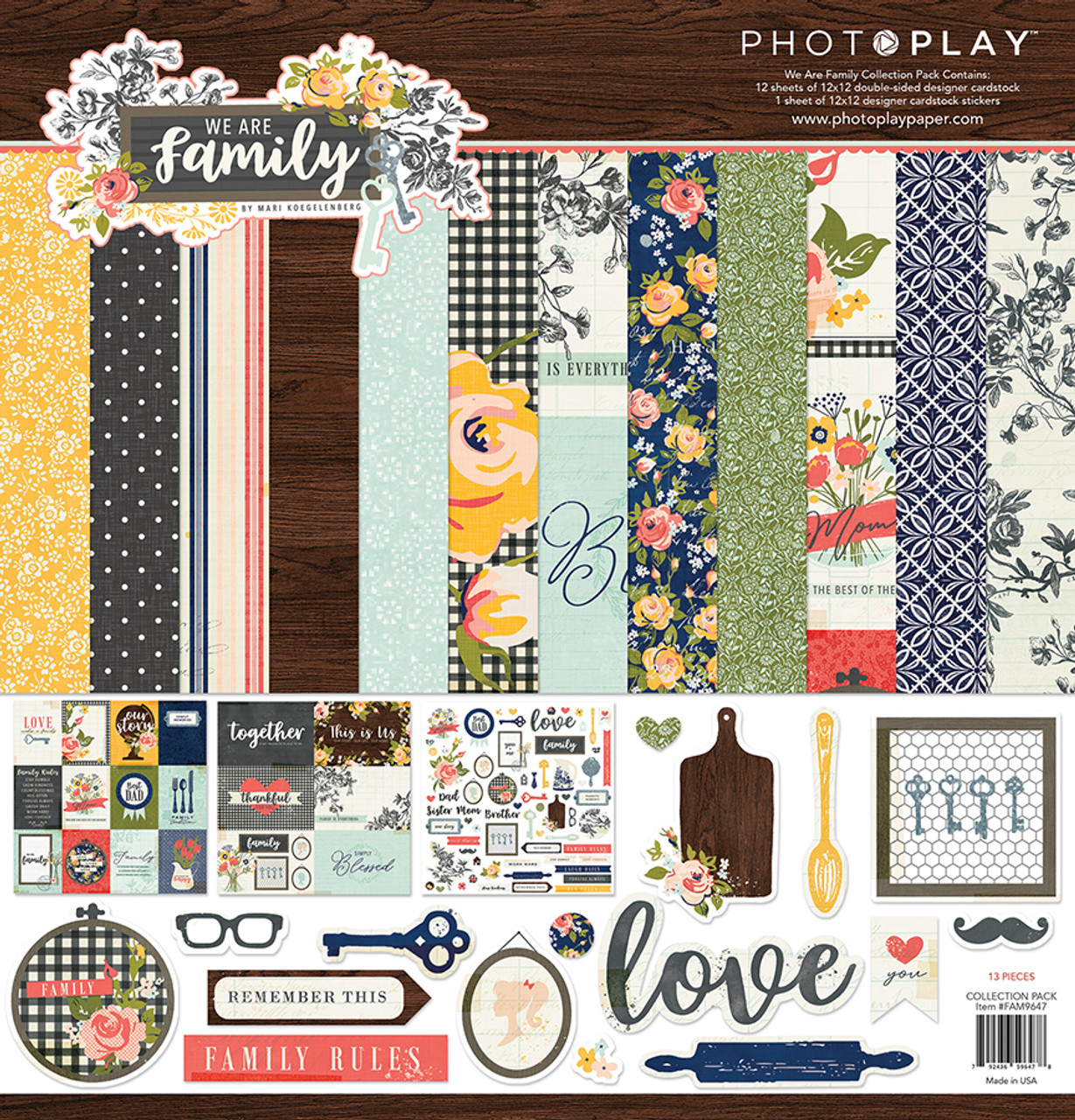 We Are Family Collection Pack by Photo Play Paper 13-Piece Collection-12 Papers, 1 Sticker