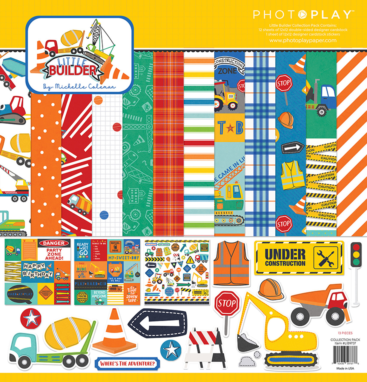 Little Builder Collection Pack by Photo Play Paper 13-Piece Collection-12 Papers, 1 Sticker