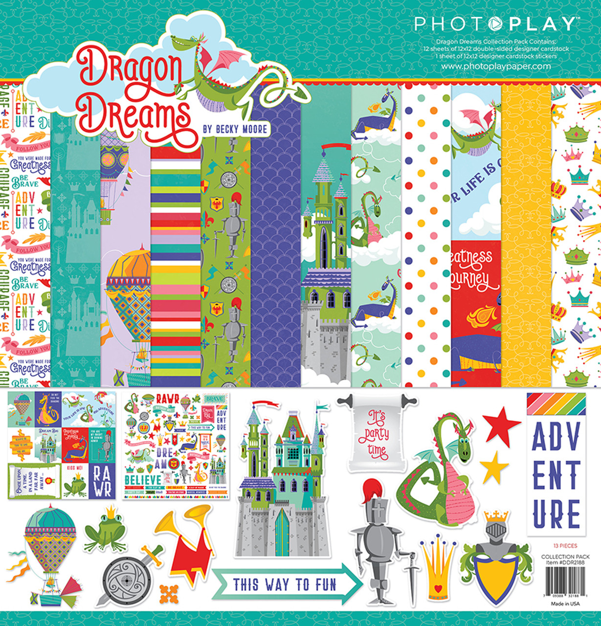 Dragon Dreams Collection Pack by Photo Play Paper 13-Piece Collection-12 Papers, 1 Sticker