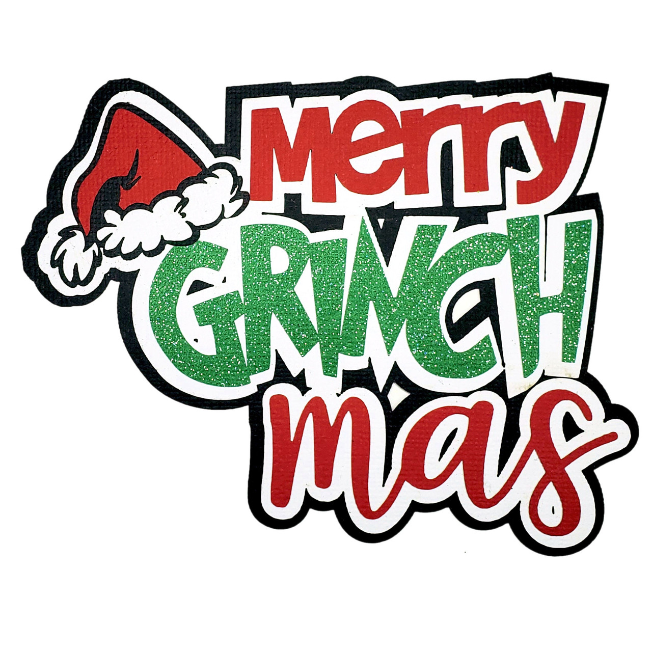 Merry Grinchmas 4 x 5 Title Fully-Assembled Laser Cut Scrapbook Embellishment by SSC Laser Designs