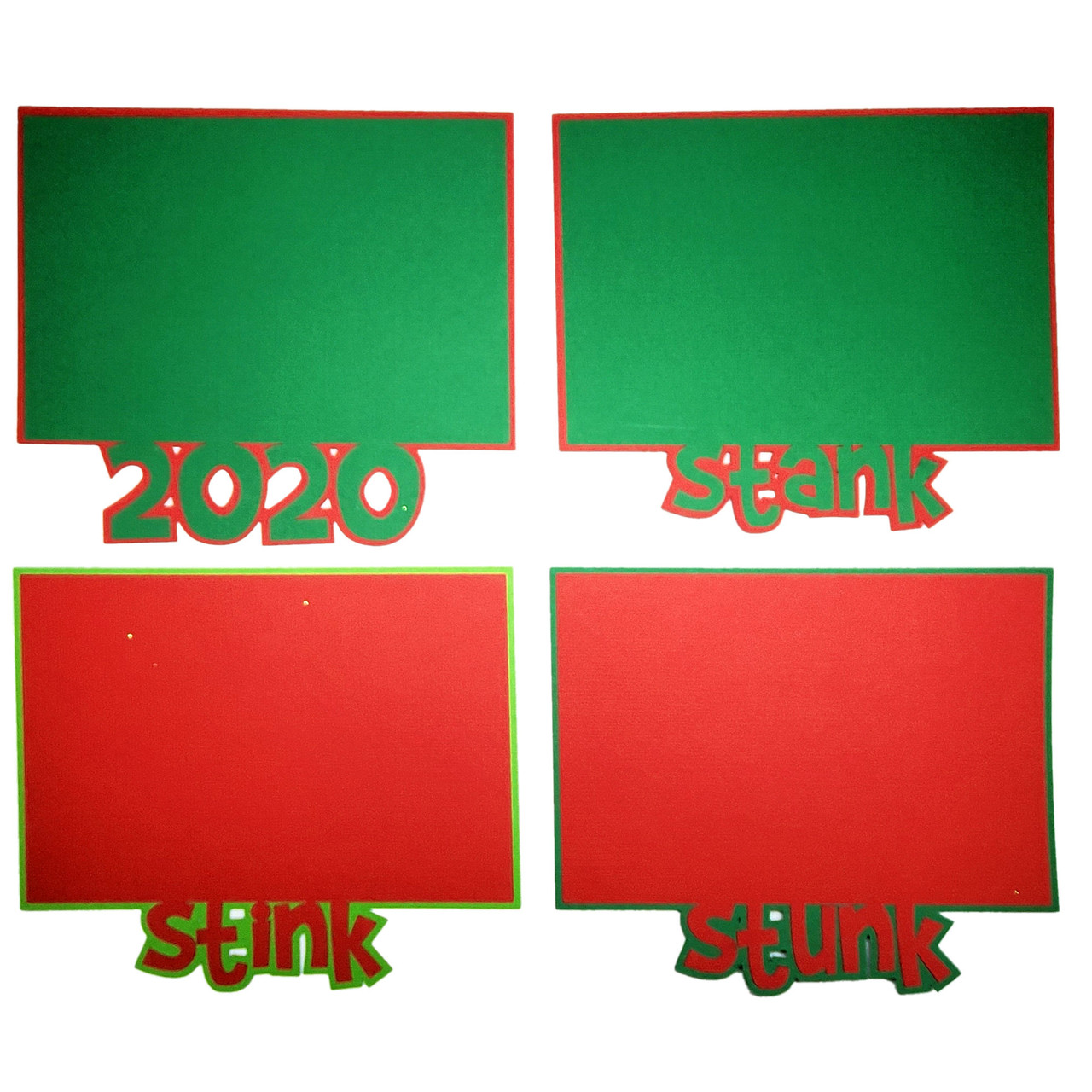 2020 Grinchy Stink, Stank, Stunk Photo Mats Fully-Assembled Laser Cut Scrapbook Embellishment by SSC Laser Designs