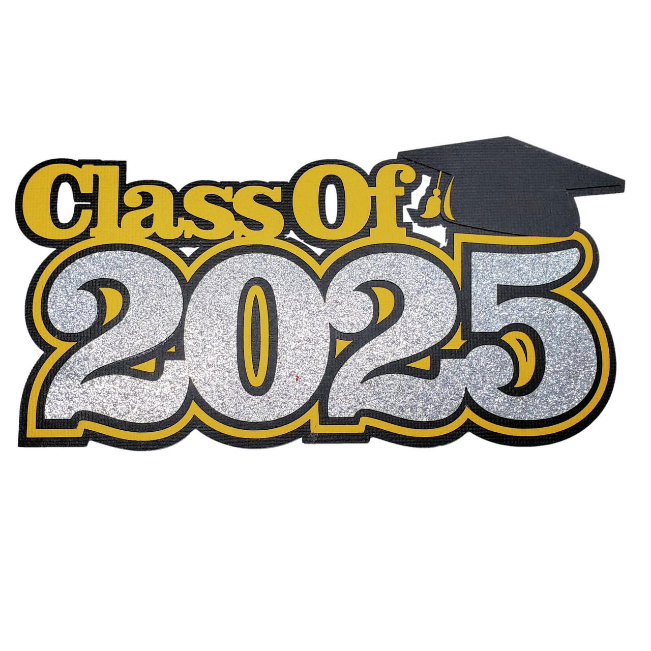 Pick Your School Color Graduation Collection Class of 2025 4 x 7 Glitter Laser Cut Embellishment by SSC Laser Designs