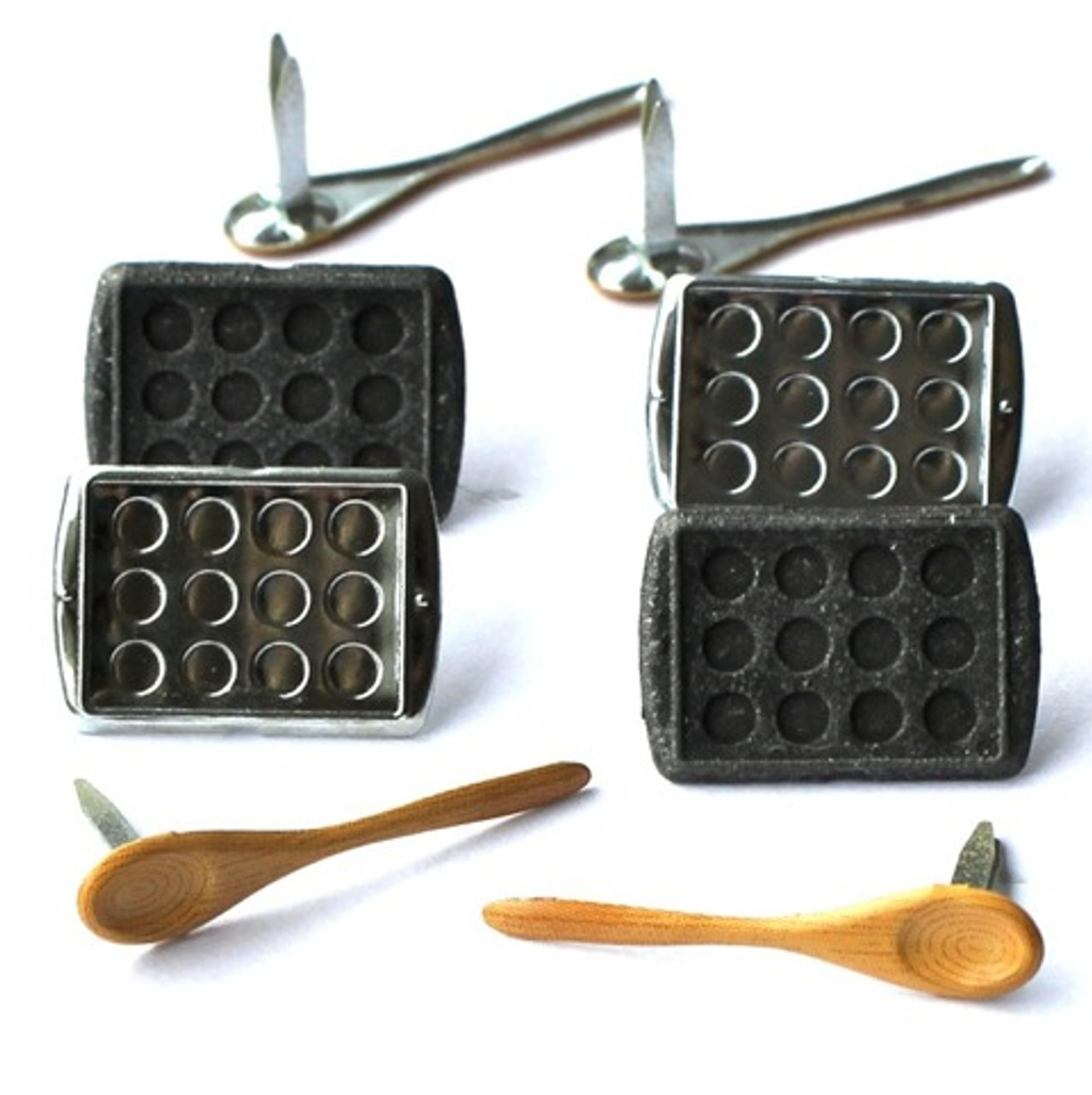 Baking Cookie Sheet & Wooden Spoon Brads by Eyelet Outlet - Pkg. of 12