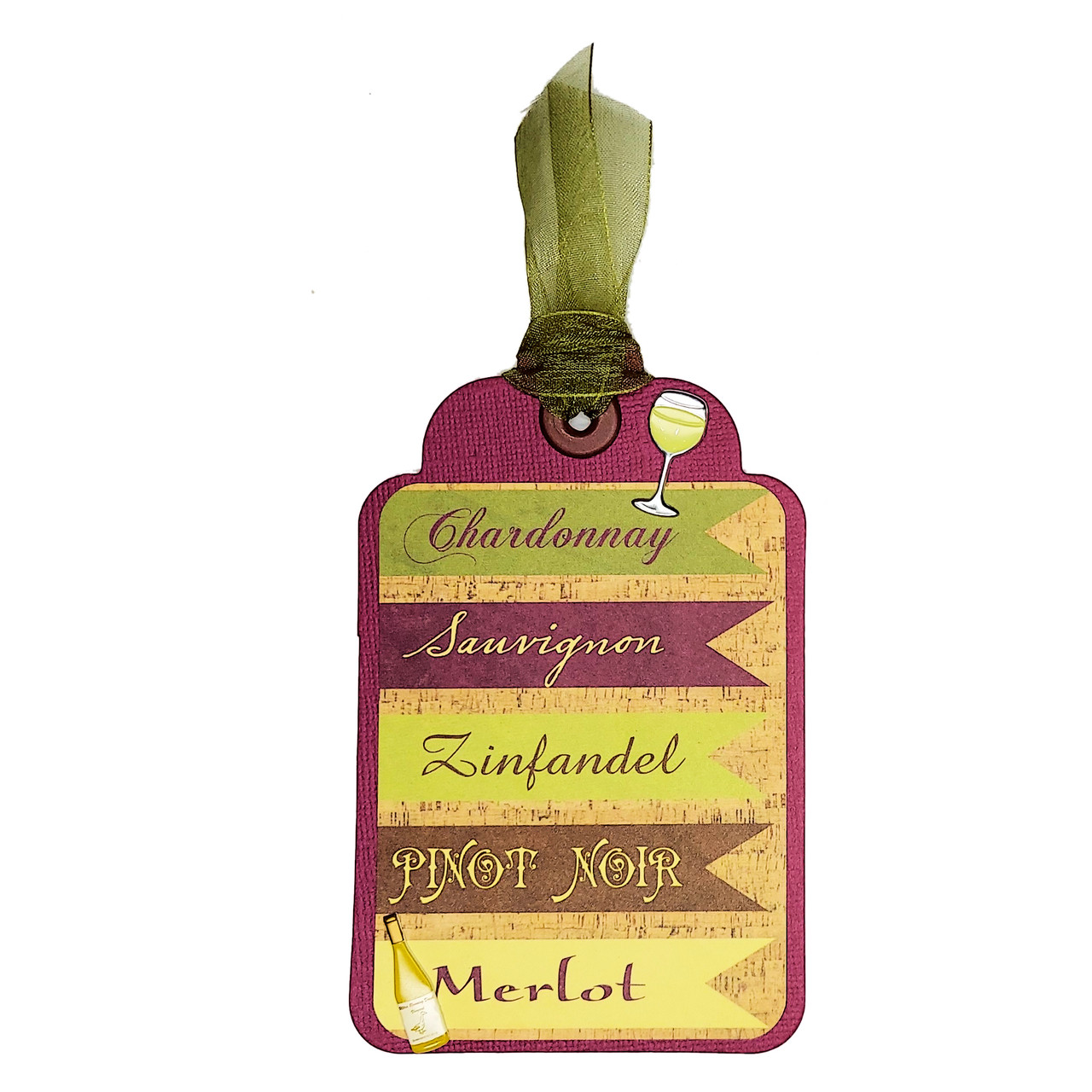 Wine & Friends Wine Names Tag 3 x 5 Coordinating Scrapbook Tag Embellishment by SSC Designs