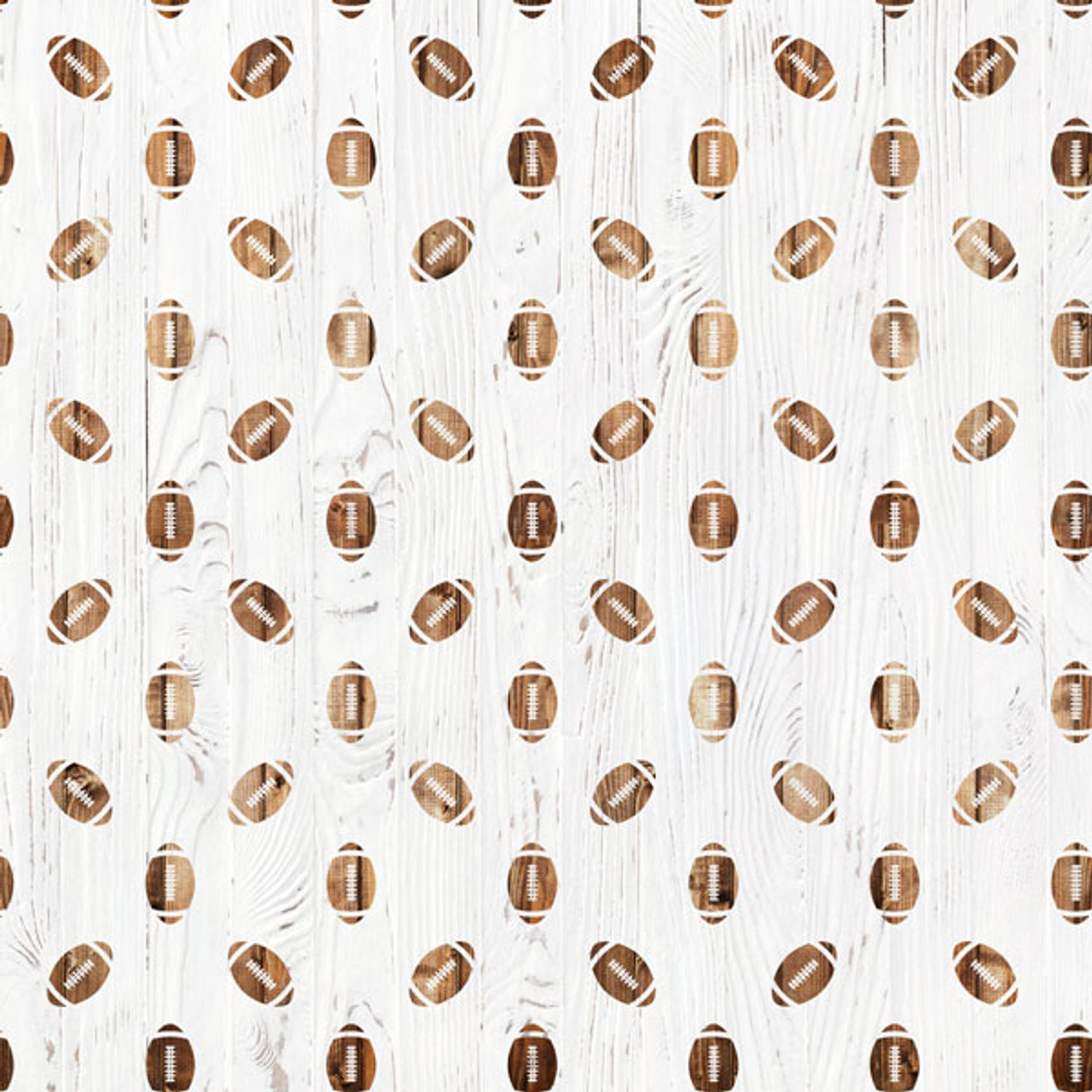 Wood Sports Collection Football White Wood 12 x 12 Double-Sided Scrapbook Paper by Scrapbook Customs