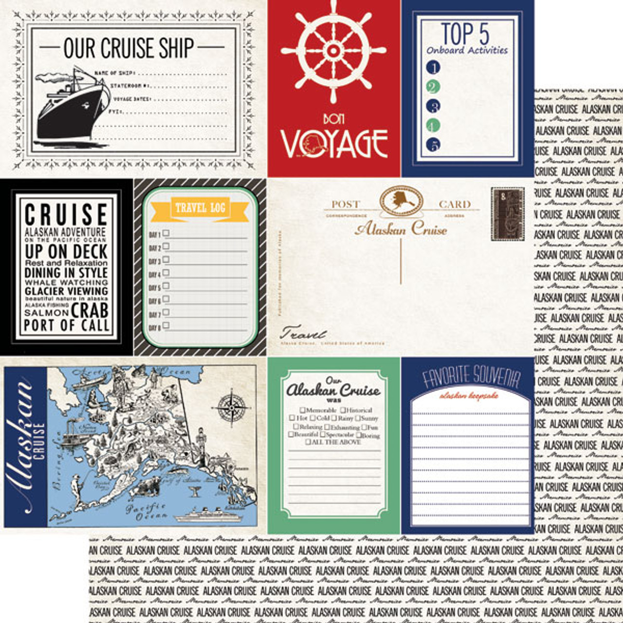 Alaskan Journal Collection Cruise 12 x 12 Double-Sided Scrapbook Paper by Scrapbook Customs