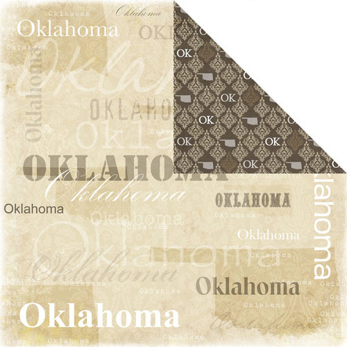 Lovely Travel Collection Oklahoma 12 x 12 Scrapbook Paper by Scrapbook Customs