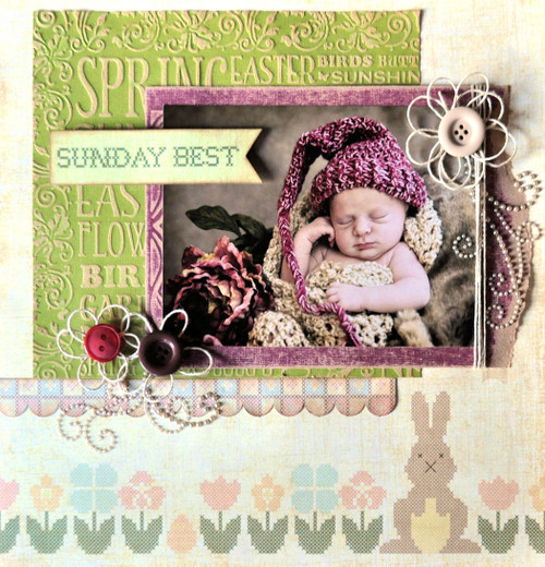 Homespun Easter Collection Springtime Double-Sided 12 x 12 Scrapbook Paper by Moxxie
