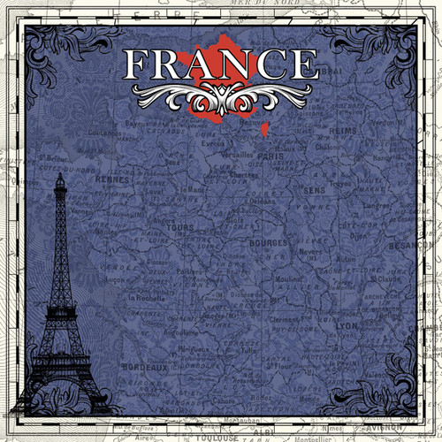 Sightseeing Collection Paris France 12 x 12 Scrapbook Paper by Scrapbook Customs