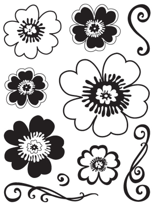 Funtastik Flowers Clear Stamp Set by Sandylion