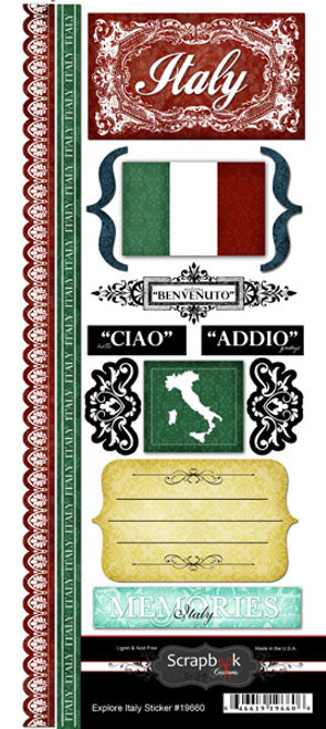 Explore Collection Italy Scrapbook Sticker Sheet by Scrapbook Customs