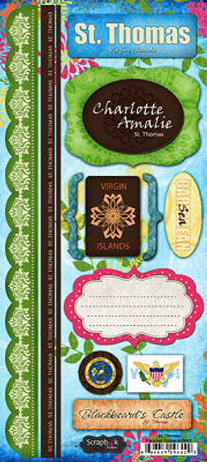Paradise Collection St. Thomas 6 x 12 Cardstock Sticker Sheet by Scrapbook Customs