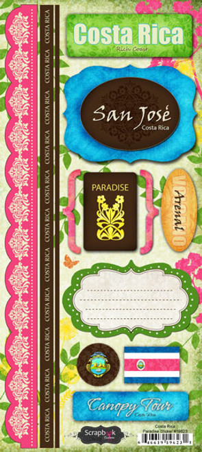 Paradise Collection Costa Rica 5.5 x 12 Scrapbook Sticker Sheet by Scrapbook Customs