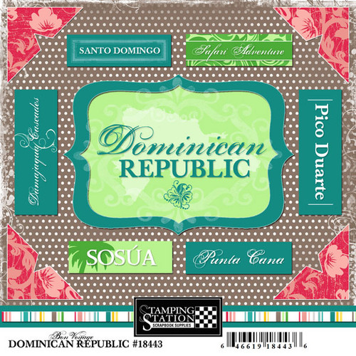 Bon Voyage Collection Dominican Republic 6 x 6 Scrapbook Sticker Sheet by Scrapbook Customs
