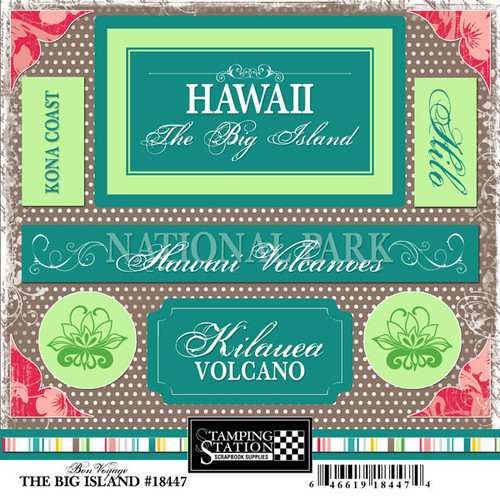 Bon Voyage Collection Hawaii The Big Island 6 x 6 Scrapbook Sticker Sheet by Scrapbook Customs