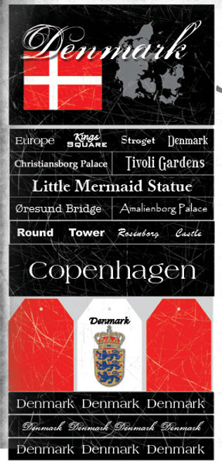 Denmark Vacation Scrapbook Stickers by Scrapbook Customs
