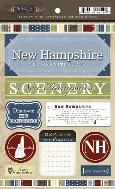Lovely Travel Collection New Hampshire 5.5 x 8 Sticker Sheet by Scrapbook Customs