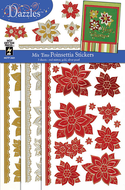 Dazzles Collection Mix 'Ems Poinsettia Stickers by Hot Off The Press - 3 Sheets