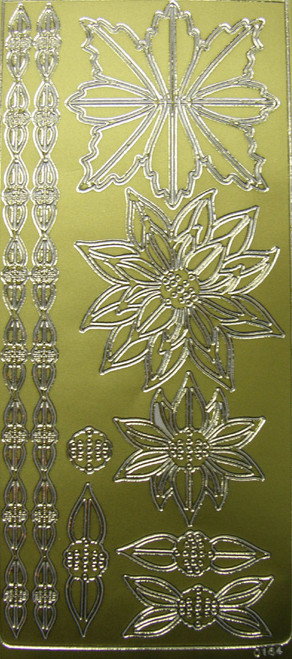 Gold Poinsettia Peel Off Stickers by Mark Richards USA