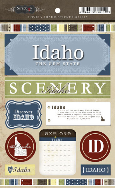 Lovely Travel Collection Idaho Sticker Sheet by Scrapbook Customs