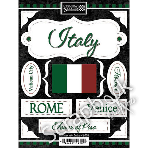 Discover Italy Collection Italy 6 x 8 Scrapbook Sticker Sheet by Scrapbook Customs