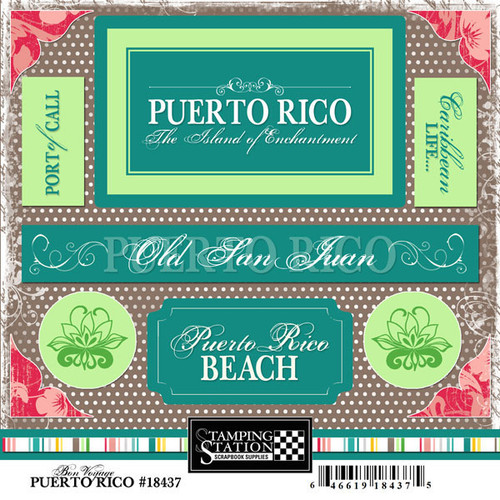 Bon Voyage Collection Puerto Rico 6 x 6 Scrapbook Sticker Sheet by Scrapbook Customs
