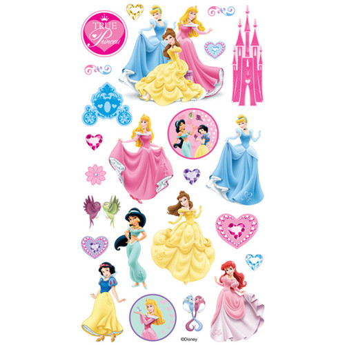 Disney Princess Collection Glitter 4 x 8 Scrapbook Stickers by EK Success