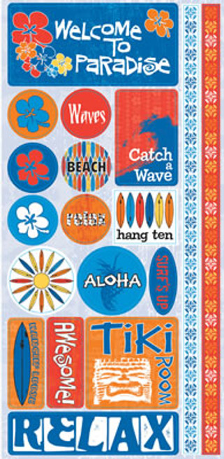 Surf Shop Collection Paradise Phrase Cardstock Stickers by Reminisce