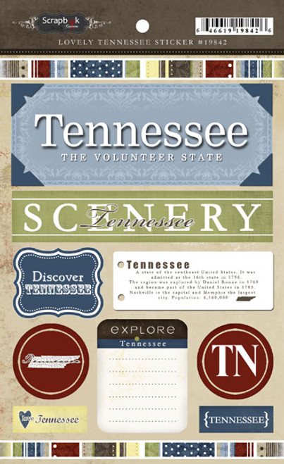 Lovely Travel Collection Tennessee Sticker Sheet by Scrapbook Customs