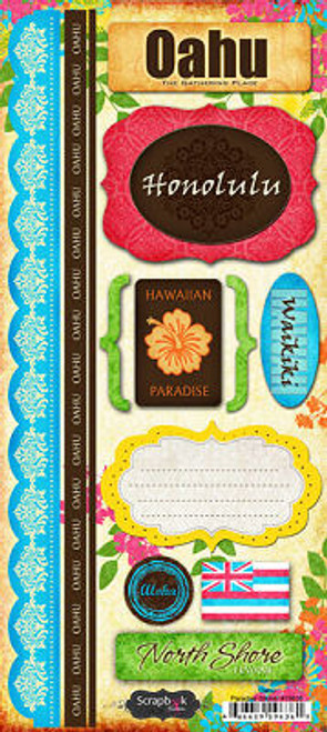 Oahu Paradise Collection Cardstock Sticker Sheet by Scrapbook Customs
