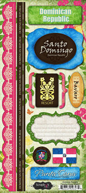 Paradise Collection Dominican Republic Cardstock Sticker Sheet by Scrapbook Customs