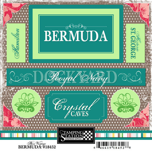 Bon Voyage Collection Bermuda 6 x 6 Scrapbook Sticker Sheet by Scrapbook Customs