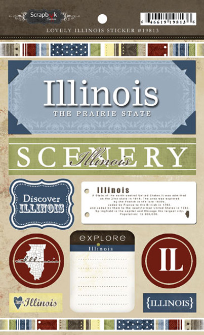 Lovely Travel Collection Illinois 5.5 x 8 Sticker Sheet by Scrapbook Customs