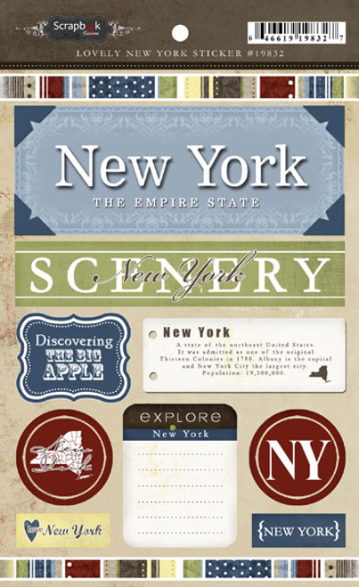 Lovely Travel Collection New York 5.5 x 8 Cardstock Sticker Sheet by Scrapbook Customs