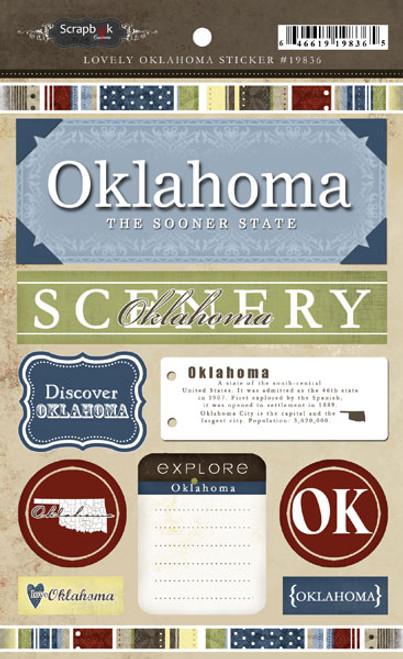 Lovely Travel Collection Oklahoma 5.5 x 8 Cardstock Sticker Sheet by Scrapbook Customs