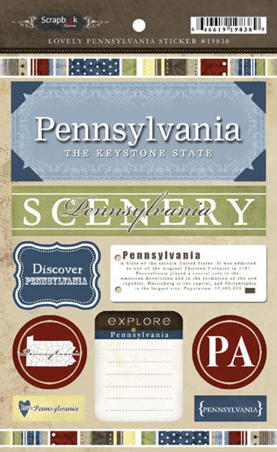 Lovely Travel Collection Pennsylvania 5.5 x 8 Cardstock Sticker Sheet by Scrapbook Customs