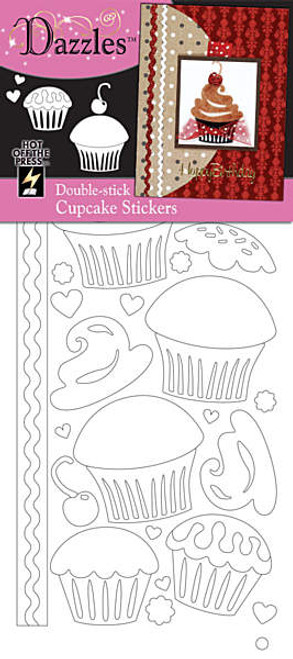 Dazzles Collection Double-Stick Cupcake Stickers by Hot Off The Press