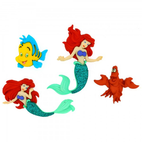 Disney Dress It Up Collection The Little Mermaid Scrapbook Button Embellishments by Jesse James Buttons