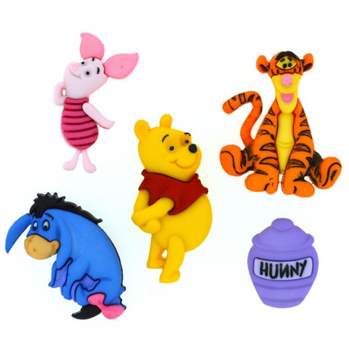 Disney Dress It Up Collection Winnie The Pooh Scrapbook Button Embellishments by Jesse James Buttons