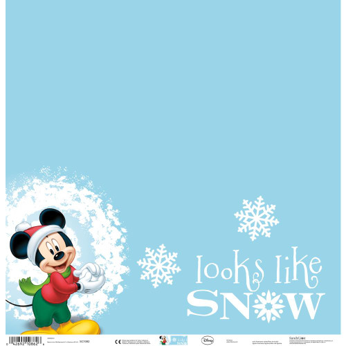 Disney Holiday Collection Mickey Mouse Looks Like Snow 12 x 12 Scrapbook Paper by Sandylion