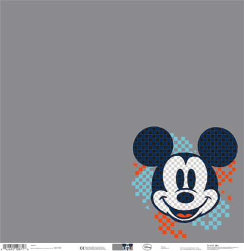 Disney Mickey Mouse Collection Gray Block Mickey Mouse 12 x 12 Scrapbook Paper by Sandylion