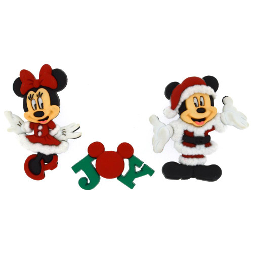Disney Dress It Up Holiday Collection Mickey Mouse &  Minnie Mouse Scrapbook Button Embellishments by Jesse James Buttons