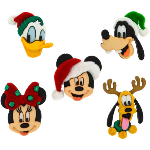 Disney Dress It Up Holiday Collection Mickey Mouse &  Friends Holiday Heads Scrapbook Button Embellishments by Jesse James Buttons