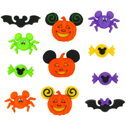 Disney Dress It Up Holiday Collection Mickey Mouse & Minnie Mouse Halloween Scrapbook Button Embellishments by Jesse James Buttons