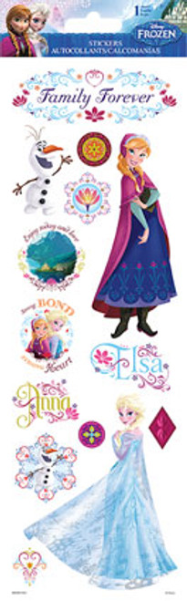 Disney Frozen Collection Elsa & Anna Family Forever 4 x 12 Glitter Sticker Sheet by Sandylion